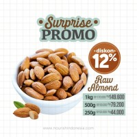 Almond Mentah Kupas Utuh dengan Kulit Ari 100gr (Raw Whole Almond)