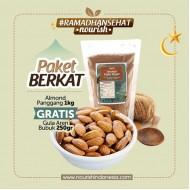 PAKET BERKAT (Almond Panggang 1kg GRATIS Gula Aren 250gr)