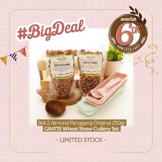 Roasted Almond 250gr (2pc) FREE Wheat Cutlery Set