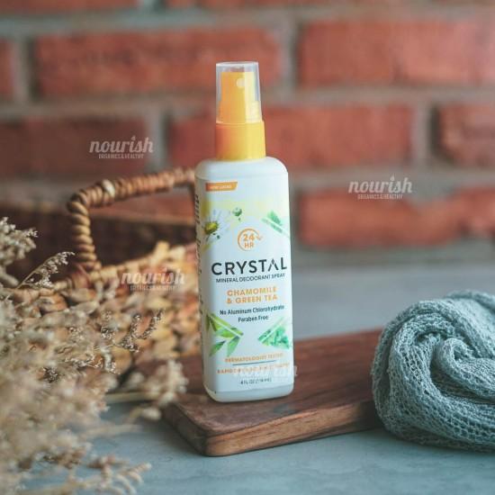Crystal Body Deodorant, Mineral Deodorant Spray, Chamomile & Green Tea (118 ml)