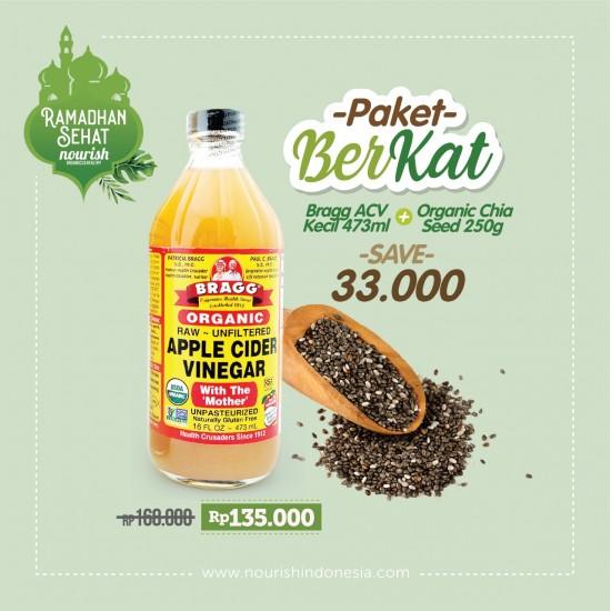 PAKET BERKAT Bragg Apple Cider Vinegar 473ml+ Chia Seed 250g