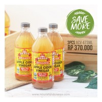 Bragg, Organic Apple Cider Vinegar (ACV / Cuka Apel) 473ml for 3pc