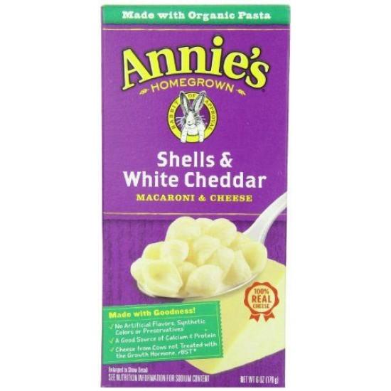 Annie's Homegrown, Shells & White Cheddar, Macaroni & Cheese, 6 oz (170 g)