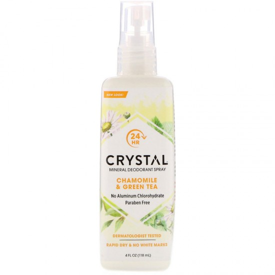 Crystal Body Deodorant, Mineral Deodorant Spray, Chamomile & Green Tea (118 ml)