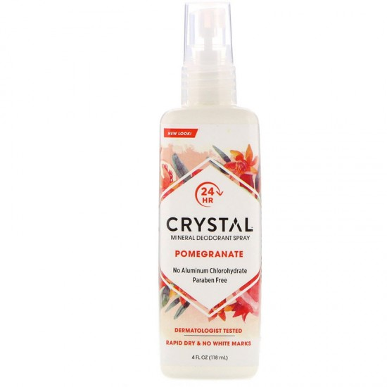 Crystal Body Deodorant, Mineral Deodorant Spray, Pomegranate (118 ml)