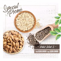 Paket Sehat 3 (500gr Rolled Oat, 250gr Organic Chia Seed, Roasted Almond)
