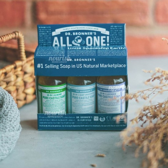 Dr Bronners Starter Kit (Almond, Unscented, Lavender 59 ml)
